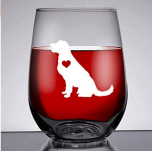 golden retriever wineglass