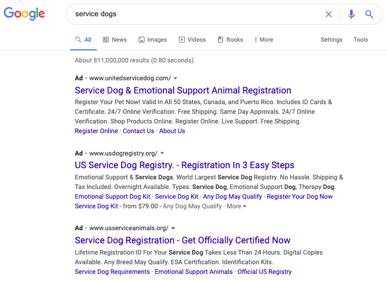 scam advertisements for registering service dogs